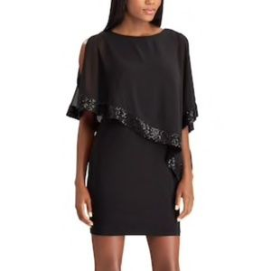 Chaps layered black asymmetrical sequined dress